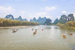 FartygLi-flod Guilin Yangshuo Arkivfoto