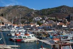 Fartygmarina på Hydraön, Aegean hav Royaltyfria Foton
