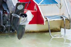 Fartygmotor med propellerdetaljer Fotografering för Bildbyråer