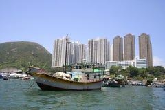 fartygporslinHong Kong sampan traditionellt Royaltyfri Bild