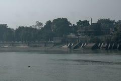 Fartygritt på floden Ganges royaltyfri fotografi