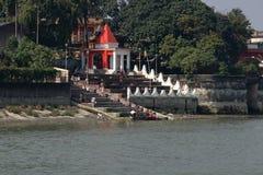 Fartygritt på floden Ganges royaltyfria foton