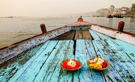 Fartygritt på floden Ganges, Varanasi, Rajasthan, Indien Arkivbild