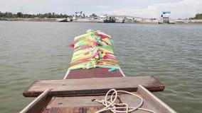 Fartygritt som är scenisk på den Bangpakong floden lager videofilmer
