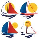 Fartygsegelbåtlogo vektor illustrationer