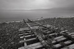 Fartygspårledning in i vatten Fotografering för Bildbyråer