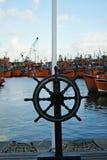 Fartygstyrninghjul Arkivfoto