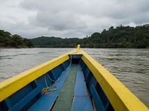 Fartygtur längs floden i djungeln arkivfoton