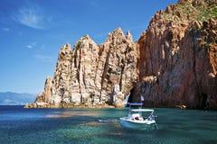 Fartygturen på capoen Rosso i Korsika Arkivbilder