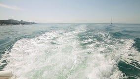 Fartygvak, som den lämnar porten, ultrarapid stock video