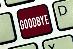 Farväl för ordhandstiltext Affärsidéen för att hälsa för att lämna avsked ser dig snart avskiljandehonnören arkivfoton