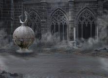 Fasa. Medeltida Mystic spöklikt slott med valvgången i skymning. Enslighet i mist royaltyfria bilder