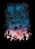 Fasabakgrund med himlar gillar skallar och en kyrkogård royaltyfri illustrationer