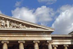 Fasad av British Museum i London Royaltyfri Fotografi