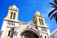 Fasad av den berömda kyrkan i tunis Royaltyfri Foto