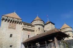 Fasad av den Chillon slotten Fotografering för Bildbyråer