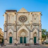 Fasad av den helgonRoch kyrkan i Montpellier Arkivfoto