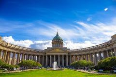 Fasad av den Kazan domkyrkan, St Petersburg Arkivbilder