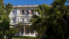 Fasad av den Massena slottkonstmuseet och historia, turism i Nice, panorama arkivfilmer