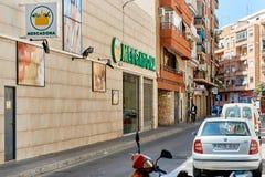 Fasad av den Mercadona stormarknaden arkivbild