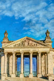 Fasad av den Reichstag byggnaden i Berlin, Tyskland Arkivbilder