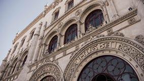 Fasad av den Rossio drevstationen Arkivfoto