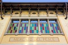 Fasad av den tidigare fiskmarknaden i Udine Arkivbilder