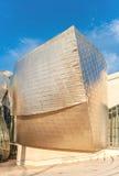 Fasad av det berömda Guggenheim museet i Bilbao, Spanien Arkivbild