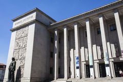 Fasad av domstolen av Porto (domstolen da Relacao gör Porto), i Porto - Portugal arkivbilder
