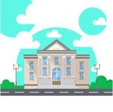 Fasad av en bankbyggnad med kolonner Plan stilvektorillustration som isoleras på vit Arkivfoto