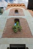 Fasad av gammal byggnad med dekorativa växter Fotografering för Bildbyråer