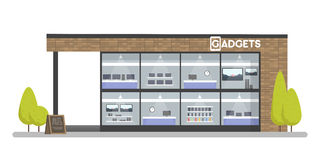Fasad av grejer och elektroniklagret Mallbegrepp för websiten, advertizingförsäljningar royaltyfri illustrationer