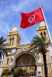Fasad av katolska kyrkan i tunis, Tunisien Fotografering för Bildbyråer