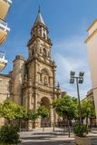 Fasad av kyrkliga San Miguel i Jerez de la Frontera, Spanien Royaltyfri Bild