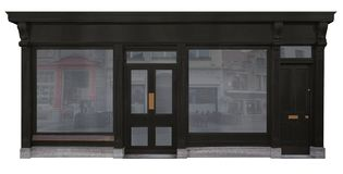 Fasad av lagret med den svarta träfasaden som isoleras på vit bakgrund royaltyfri fotografi
