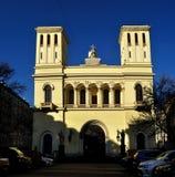 Fasad av Lutherankyrkan av apostlar Peter och Paul i St Petersburg, Ryssland - arkitektursikt Arkivfoto