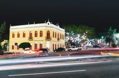 Fasad av Morada DOS Bais på natten, stora Campo - ms, Brazi royaltyfri bild