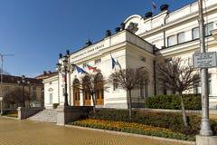Fasad av nationalförsamling i stad av Sofia, Bulgarien arkivfoto