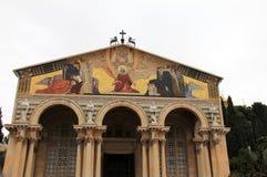 Fasad av nationer för kyrka allra. Jerusalem. Israel royaltyfria foton