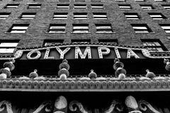 Fasad av Olympia Theater i i stadens centrum Miami arkivbilder