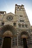 Fasad av San Lorenzo Cathedral - Genoa Landmarks arkivbild