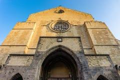 Fasad av Santa Chiara Church i den Naples staden, roman archutecture för katolsk kyrka royaltyfri bild