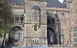 Fasad av stadshuset på Aachen, Tyskland Arkivbild