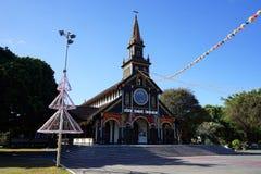 Fasad av träkyrkan Arkivbild