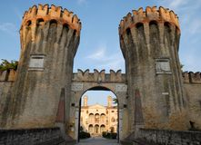 Fasad av villan Giustinian i Roncade i landskapet av Treviso i Venetoen (Italien) Royaltyfria Bilder