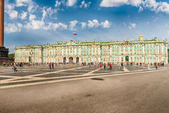 Fasad av vinterslotten, eremitboningmuseum, St Petersburg, R Arkivbilder
