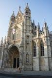 Fasad av vår välsignade dam av den Sablon kyrkan, Bryssel, Belgien Arkivbilder
