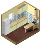fasad för gräsplan för kök för isometrisk illustration för vektor 3d inre stock illustrationer