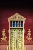 Fasad för guld- port av Vatsensookharam, Luang Prabang, Laos Royaltyfri Bild
