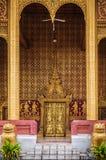 Fasad för guld- port av Vatsensookharam, Luang Prabang, Laos Royaltyfria Bilder